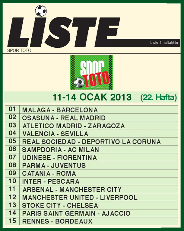 Spor Toto Liste 22_ hafta 2013