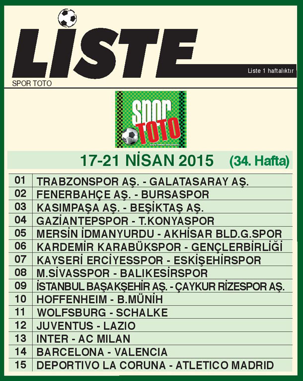SPOR TOTO LİSTE 34_ HAFTA 2015