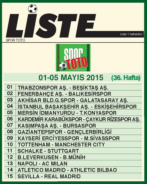 SPOR TOTO LİSTE 36_ HAFTA 2015