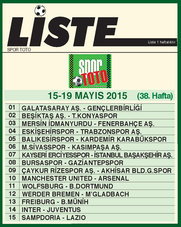 SPOR TOTO LİSTE 38_ HAFTA 2015