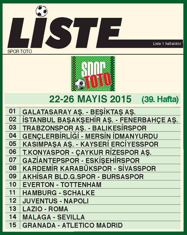 SPOR TOTO LİSTE 39_ HAFTA 2015