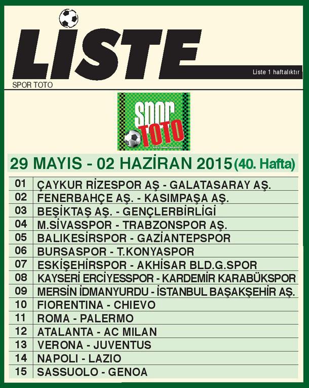 SPOR TOTO LİSTE 40_ HAFTA 2015