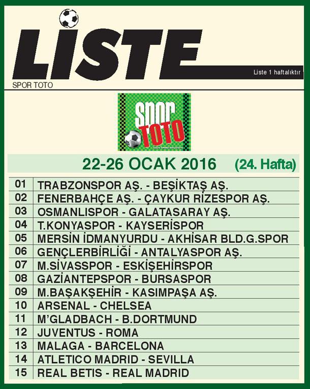 SPOR TOTO LİSTE 24_ HAFTA 2016